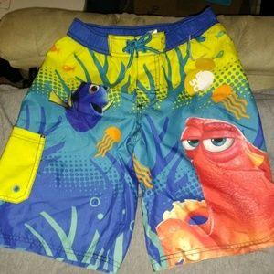 NEW Boys Sz 9/10 Swimming Trunks Disney Dory Hank